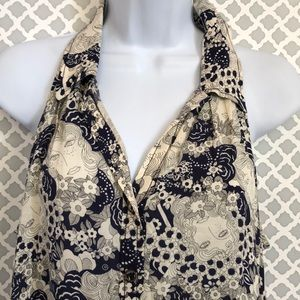 Anthro Maeve Navy ivory floral faces sleeveless